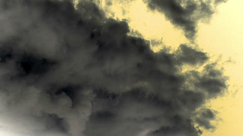 Timelapse Clouds Sky Flowing Grey On Yellow Orange Background Footage
