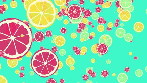 lemons, limes and grapefruits summer animation Animation