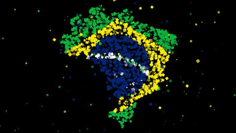 Map and flag of Brazil Animation
