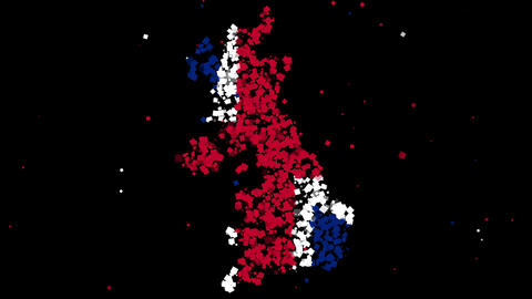 Map and flag of United Kingdom Animation