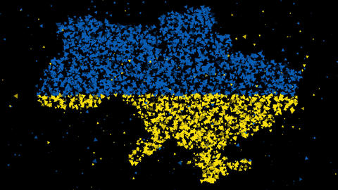 Abstract map and flag of Ukraine Animation