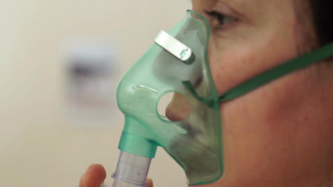 Medical Nebulizer Breathing Mask Side Closeup Footage