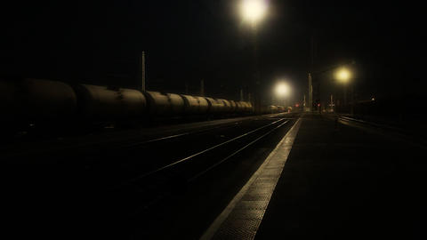 Night Freight train with oil tanks Footage