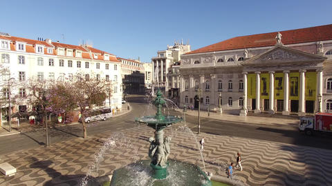 Fountain in Rossio Square in the morning Lisbon Footage