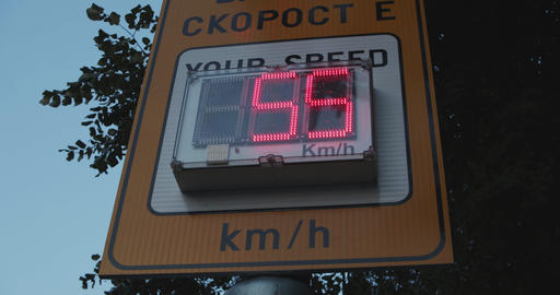 Speed meter display on the streets for monitoring passing car speeds Live Action