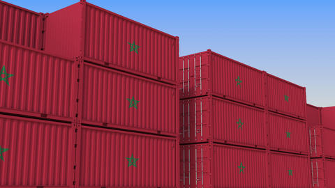 Container terminal full of containers with flag of Morocco. Moroccan export or Live Action