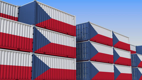 Container terminal full of containers with flag of the Czech Republic. Export or Live Action