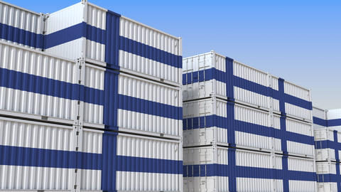 Container yard full of containers with flag of Finland. Finnish export or import Live Action
