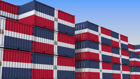 Container terminal full of containers with flag of the Dominican Republic Live Action