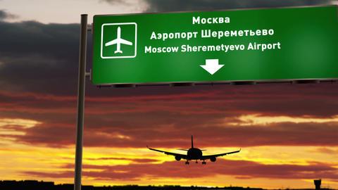 Plane landing in Moscow Sheremetyevo Animation