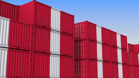 Container terminal full of containers with flag of Peru. Peruvian export or Live Action