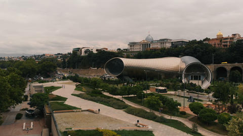 4k - aerial shot of the culture building in the Tbilisi, Gergia Live Action
