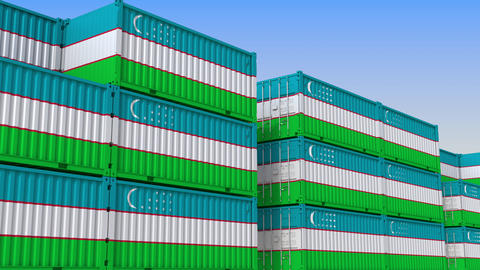 Container yard full of containers with flag of Uzbekistan. Uzbek export or Live Action