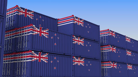 Container yard full of containers with flag of New Zealand. Export or import Live Action