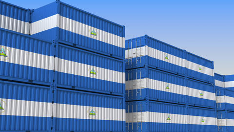 Container terminal full of containers with flag of Nicaragua. Nicaraguan export Live Action