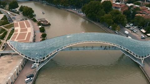 4k - Pedestrian bridge in the capital of Georgia Tbilisi Live Action