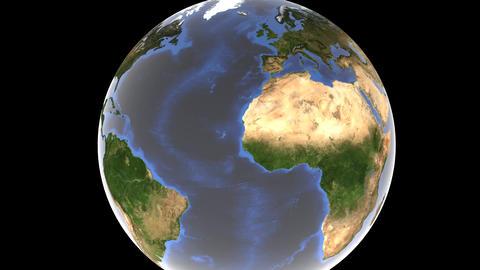 Earth globe rotates, camera focusing on the Korean Peninsula and the Japanese Animation