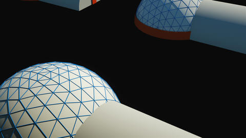 Simple space colony with special constructions in space, 3d render illustration Live Action