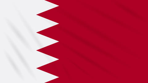 Bahrain flag waving cloth background, loop Animation