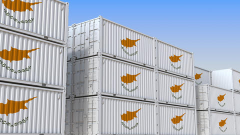 Container yard full of containers with flag of Cyprus. Cypriot export or import Live Action