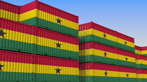 Container yard full of containers with flag of Ghana. Ghanaian export or import Live Action
