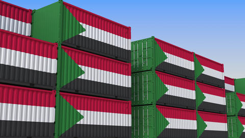Container yard full of containers with flag of Sudan. Sudanese export or import Live Action