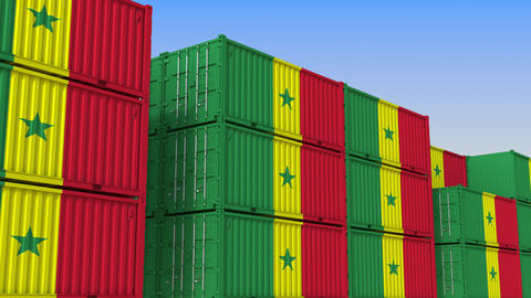 Container yard full of containers with flag of Senegal. Senegalese export or Live Action