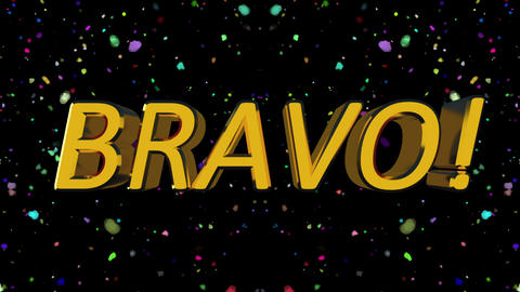 Golden shiny text Bravo with many particles, modern background for events, 3d Footage