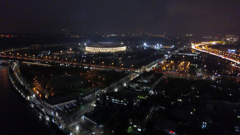 Night Moscow with Luzhniki Stadium, aerial view Archivo