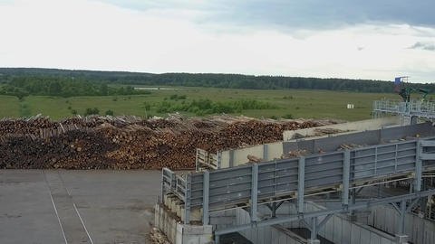 At the wood-processing plant, aerial view Archivo