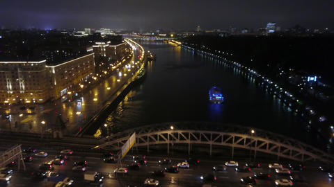 Aerial view of night Moscow with river and bridge, Russia Archivo