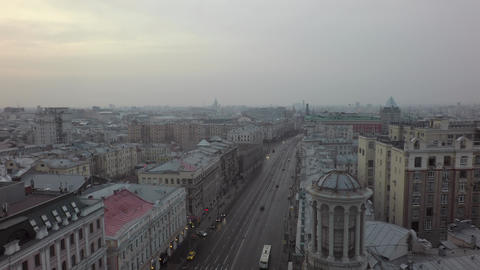 Flying over Tverskaya street in Moscow, Russia Archivo