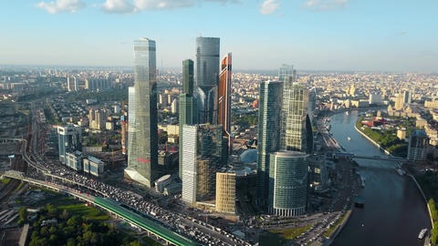 Aerial view of Moscow, Russia. Cityscape with business centre, traffic and river Archivo