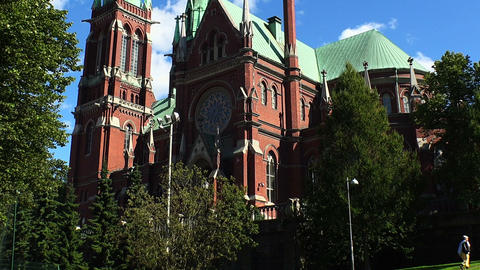Temple of red brick in Helsinki. Finland Footage