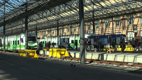 Platform railway station in Helsinki Footage