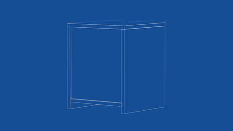 3d wire-frame model of nightstand, Stock Animation
