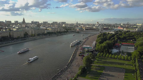 Aerial view of Moskva river in Moscow center Archivo