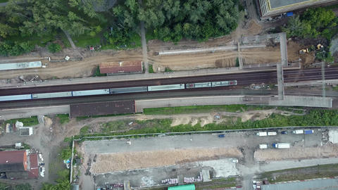 Flying over a dull railway Archivo