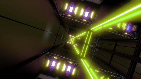 rotating space tunnel corridor vj loop endless 3d illustration Animation