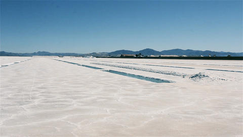 Salt Flats in Argentina. Salt Production Live Action