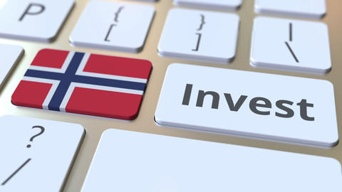 INVEST text and flag of Norway on the buttons on the computer keyboard. Business Live Action