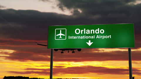 Plane landing in Orlando Florida Animation