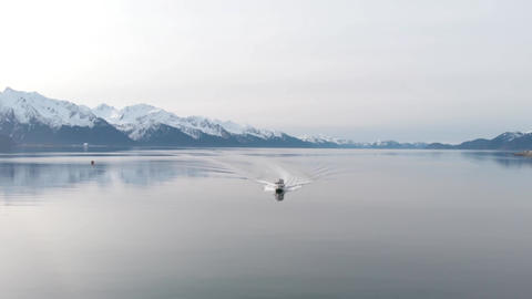 Sport fishing boat on the water in Alaska Live Action