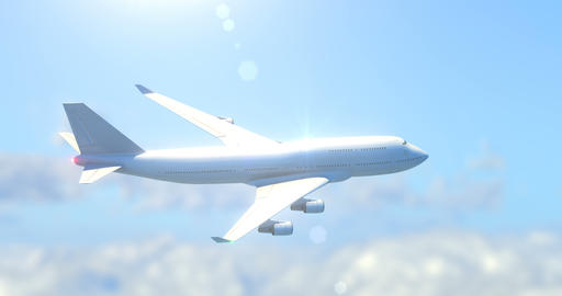 Passenger airplane flying in skies Animation
