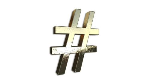 Gold Hashtag Sign Rotation Loop GIF