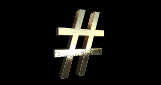 Gold Hashtag Sign Rotation Loop - Black Background Live Action