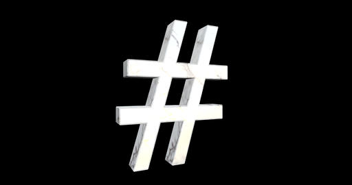Hashtag Symbol With White Marble Texture Footage