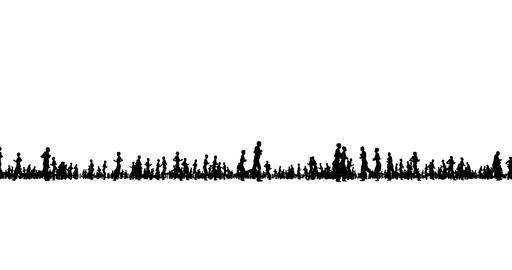 Silhouette of people running on white Live Action