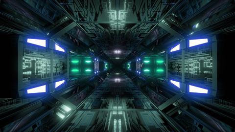futuristic science-fiction technical tunnel corridor 3d illustration background Animation
