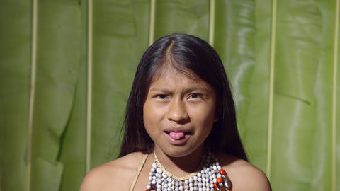Young Girl Facial Expression Expressing Disgust In Ecuador Footage